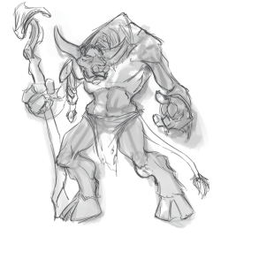 The request was an emaciated Tauren. It ended up being adopted as the grandfather of a viewer's Tauren Warrior.
